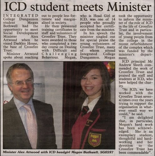 ICD student meets Minister Alex Attwood