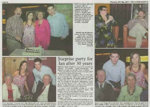Ulster Gazette article about 30 years for Ian Bothwell