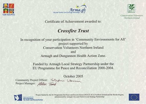 Community Environments for All - award certificate