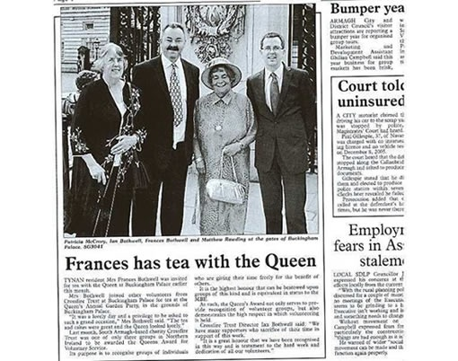 Frances has tea with the Queen